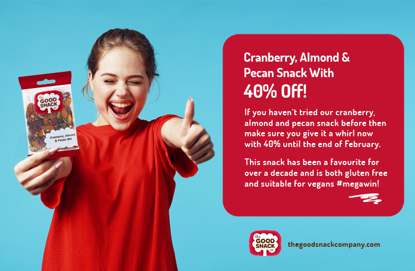 Cranberry, Almond, Pecan Snack - Healthy Snack Special Offer - The Good Snack Company